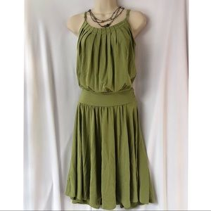 BCBG MaxAzria Green Swing Dress Spaghetti Straps